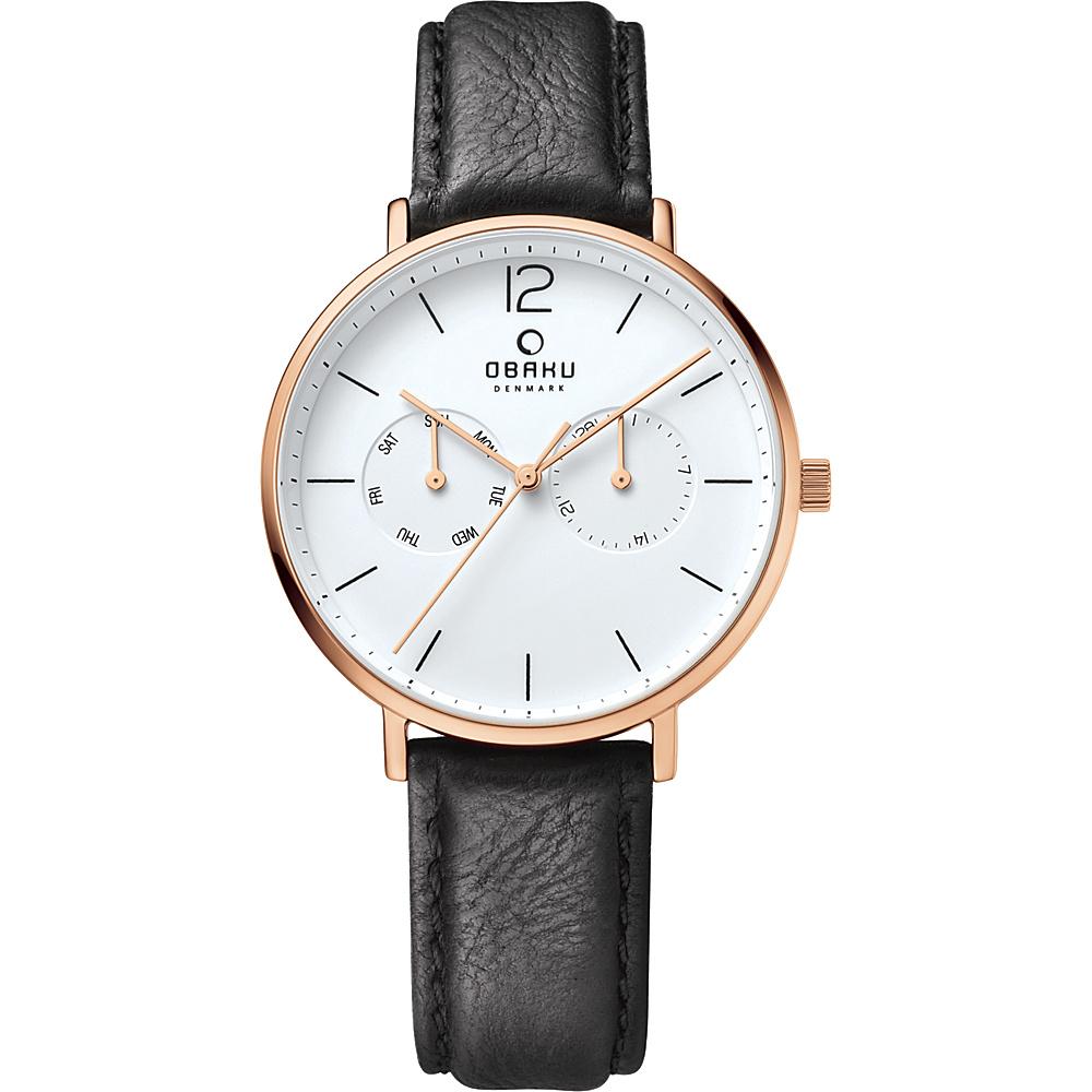 Obaku Watches Mens Ceramic Multifunction Leather Watch Black Rose Gold Obaku Watches Watches
