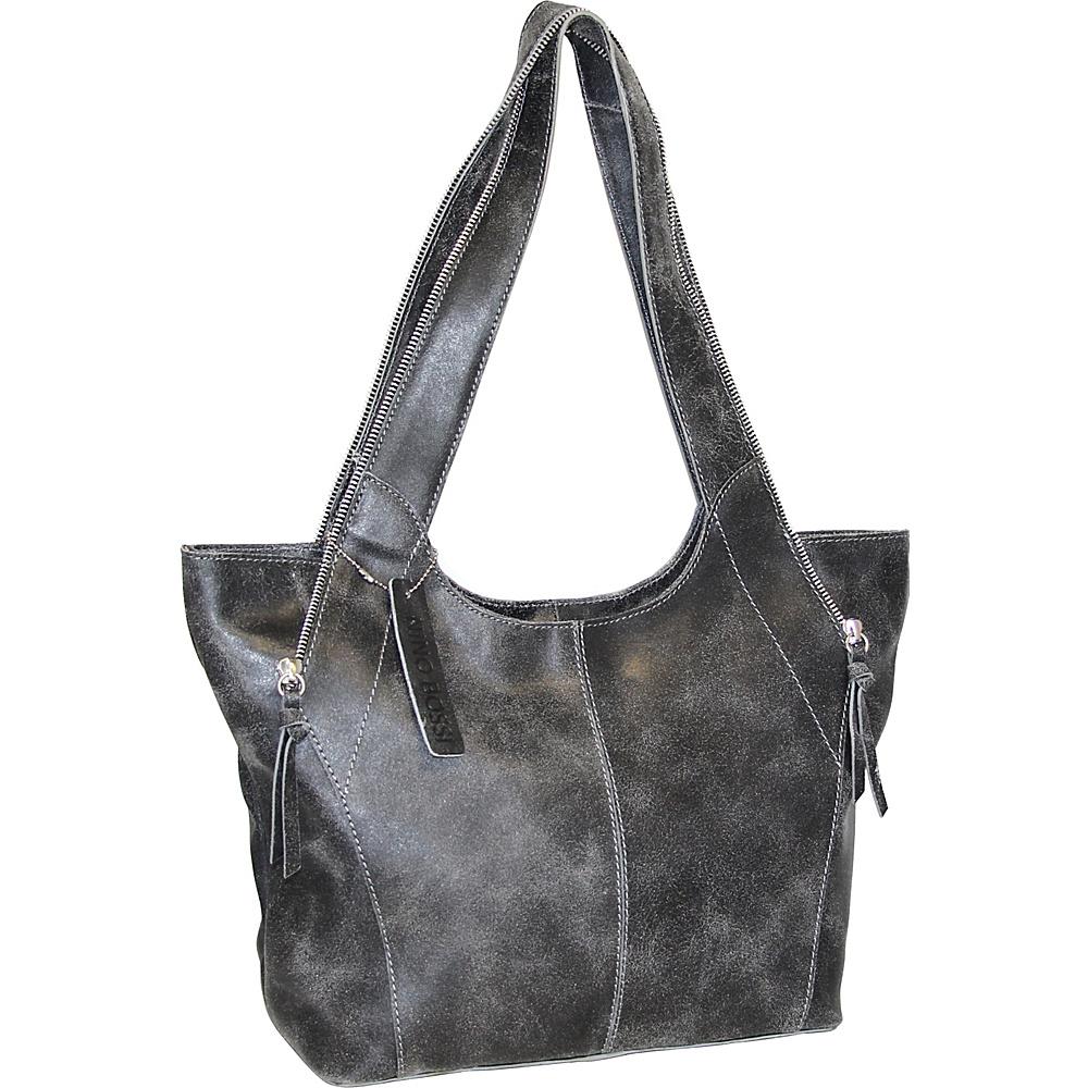 Nino Bossi Crackle Zipper Tote Black - Nino Bossi Leather Handbags - Handbags, Leather Handbags