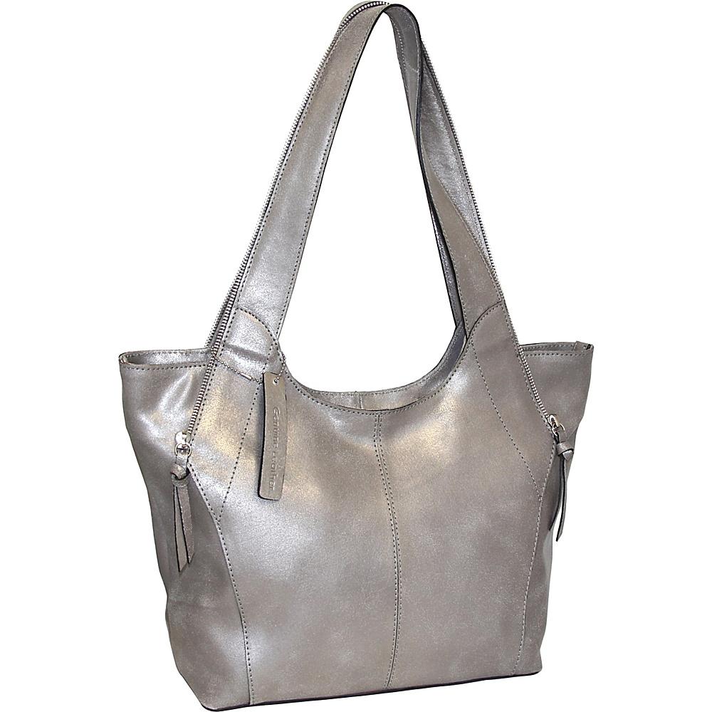 Nino Bossi Crackle Zipper Tote Pewter - Nino Bossi Leather Handbags - Handbags, Leather Handbags