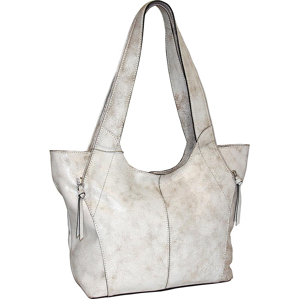 Nino Bossi Crackle Zipper Tote Winter White - Nino Bossi Leather Handbags - Handbags, Leather Handbags