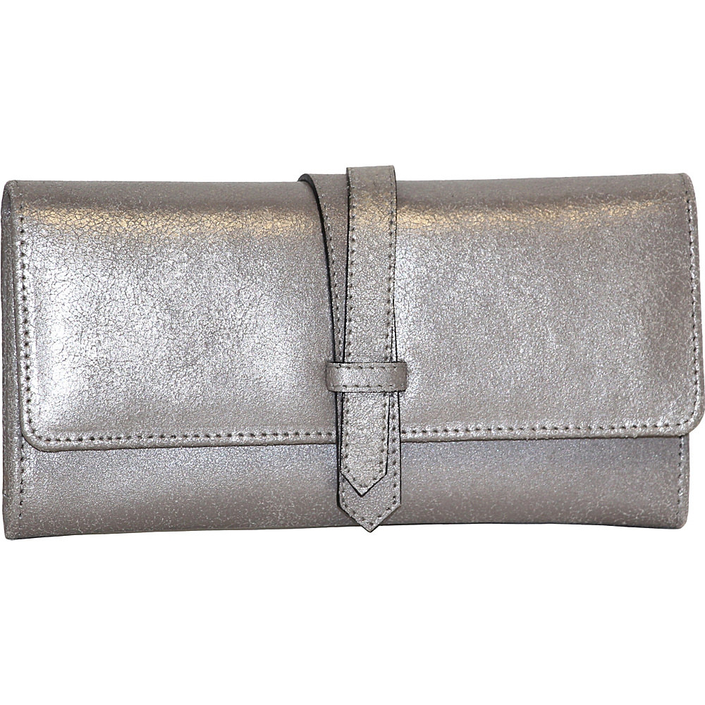 Nino Bossi Crackle Flap Wallet Pewter - Nino Bossi Designer Handbags - Handbags, Designer Handbags
