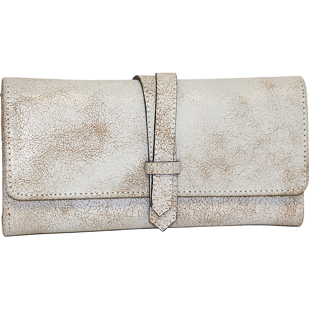 Nino Bossi Crackle Flap Wallet Winter White - Nino Bossi Designer Handbags - Handbags, Designer Handbags