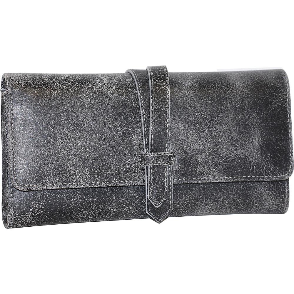 Nino Bossi Crackle Flap Wallet Black - Nino Bossi Designer Handbags - Handbags, Designer Handbags