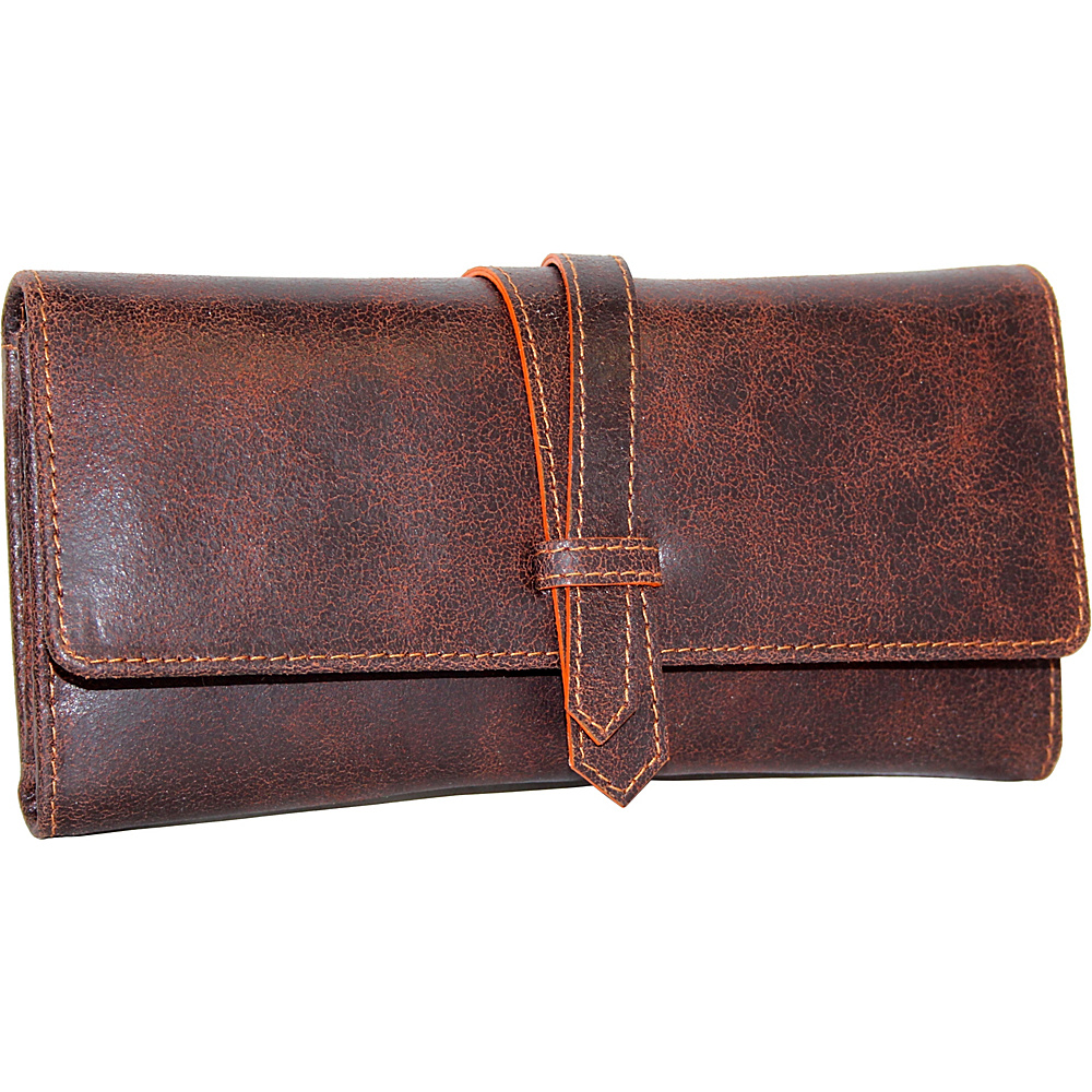 Nino Bossi Crackle Flap Wallet Chocolate - Nino Bossi Designer Handbags - Handbags, Designer Handbags