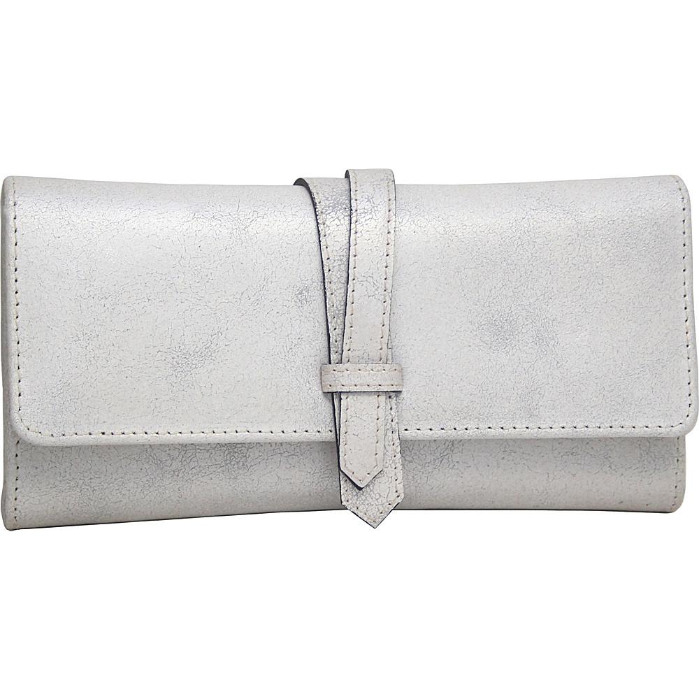 Nino Bossi Crackle Flap Wallet Silver - Nino Bossi Designer Handbags - Handbags, Designer Handbags