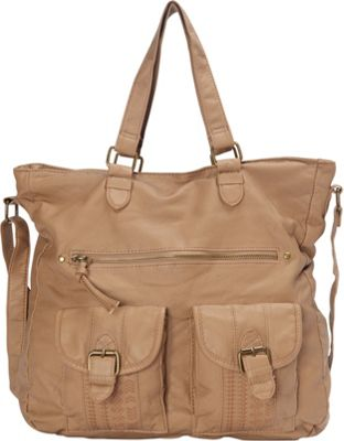 T-shirt & Jeans Washed Tote With Embroidery Sand - T-shirt & Jeans Manmade Handbags