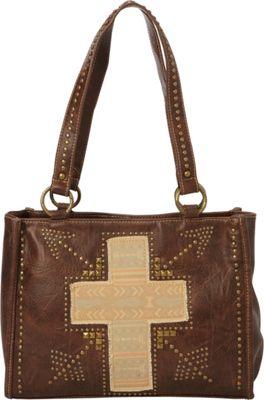 Montana West Fabric Applique Cross Bag Coffee - Montana West Manmade Handbags