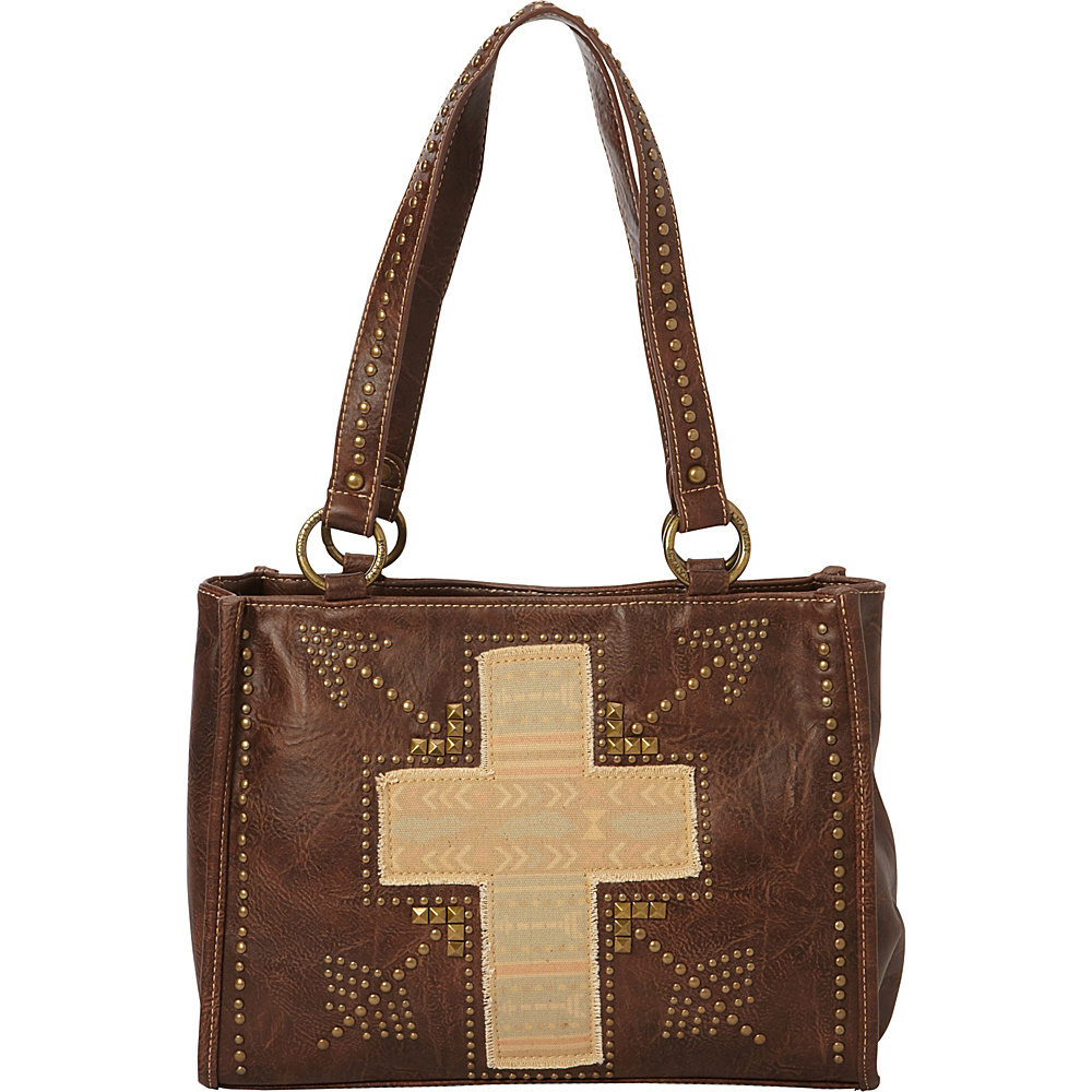 Montana West Fabric Applique Cross Bag Coffee Montana West Manmade Handbags