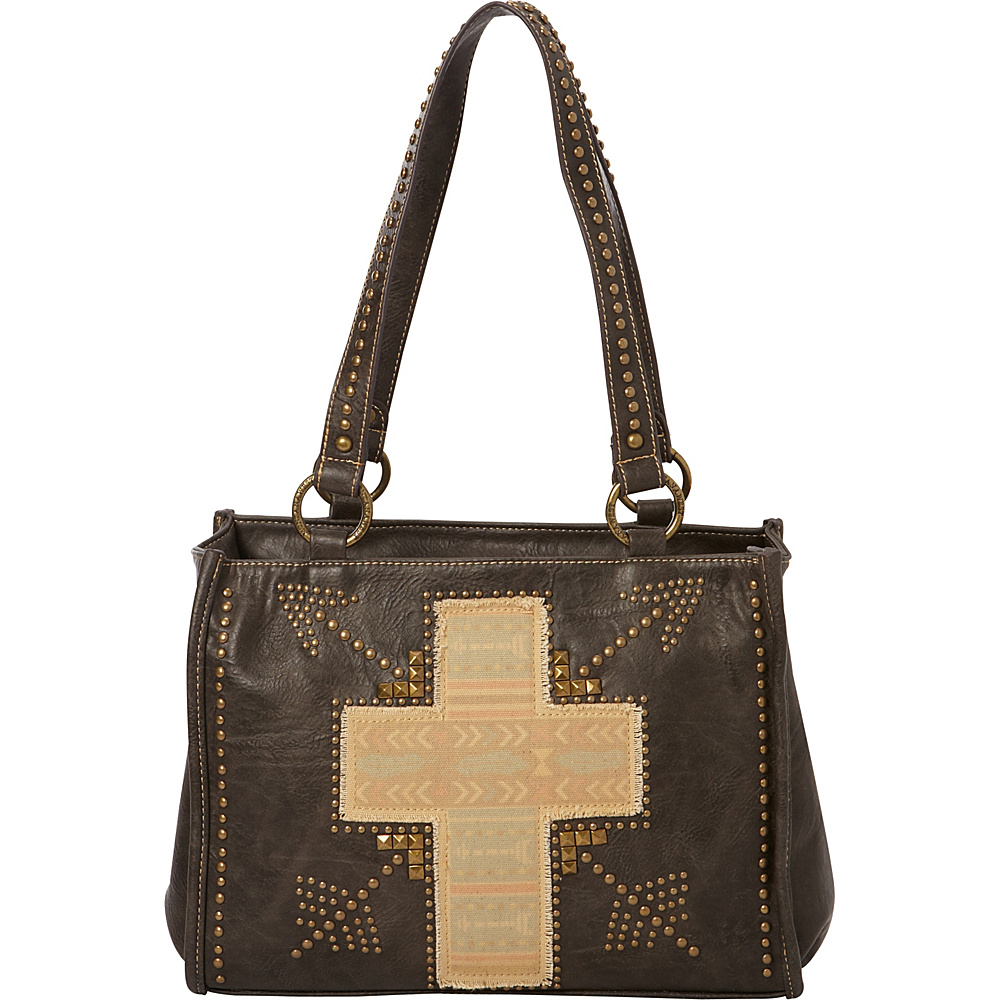 Montana West Fabric Applique Cross Bag Grey Montana West Manmade Handbags