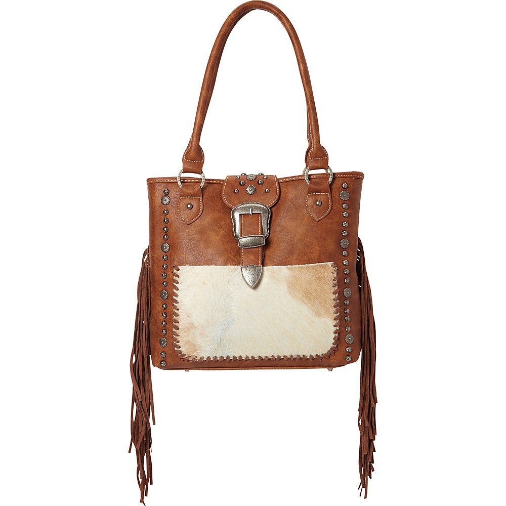 Montana West Buckle Handbag with Hair On and Fringe Brown Montana West Manmade Handbags