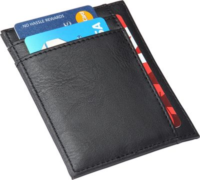 Image of 1Voice The Defender RFID Blocking Leather Card Holder Black Texture - 1Voice Men's Wallets