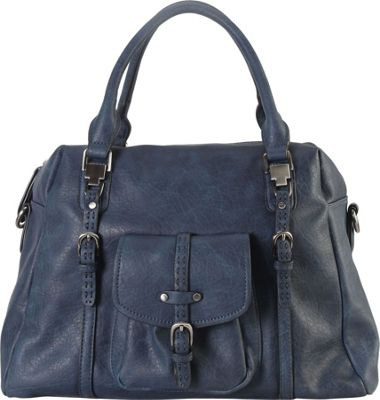 Diophy Front Pocket Zipper Closure Tote Blue - Diophy Manmade Handbags