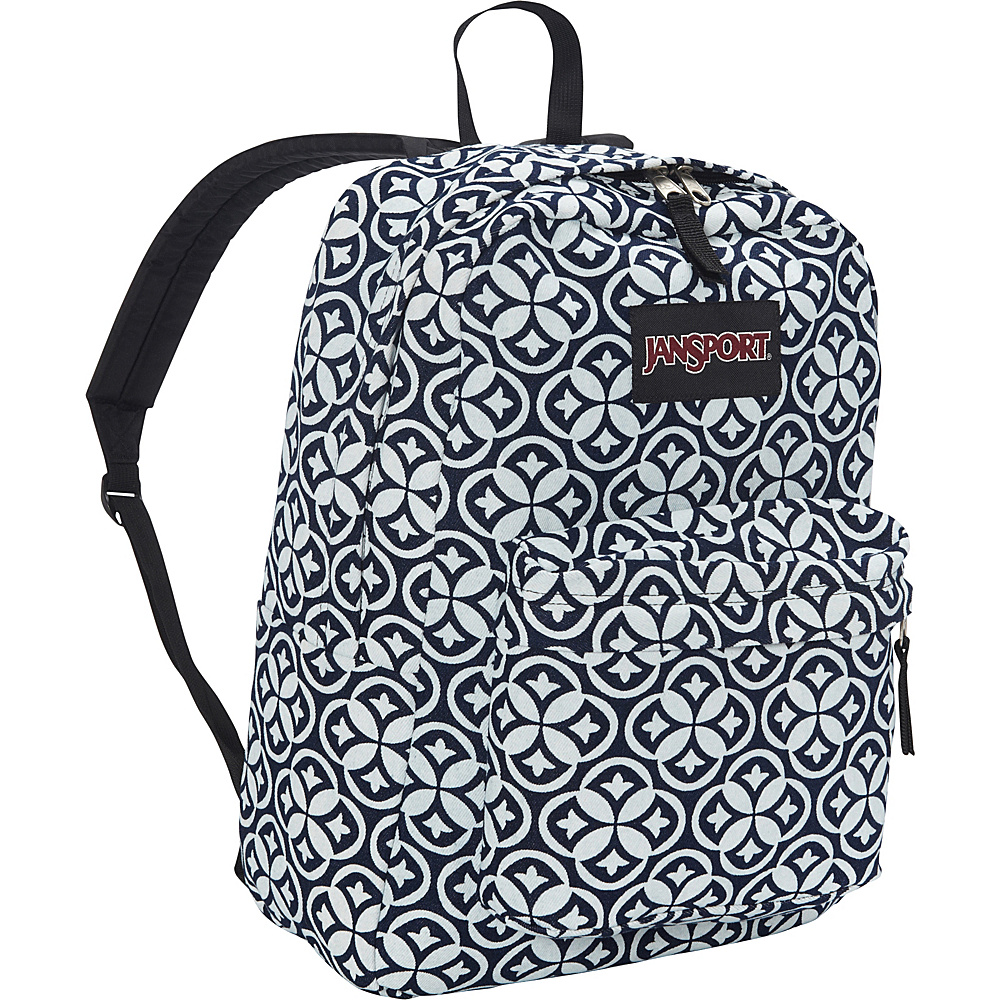 JanSport Super FX Series Backpack- Sale Colors White Denim Emblem - JanSport Everyday Backpacks