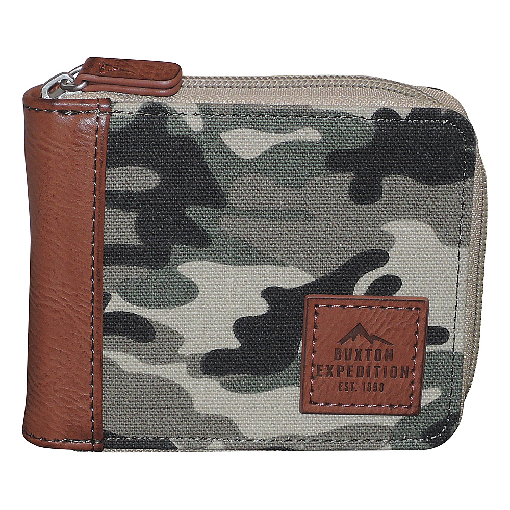 Buxton Expedition II Huntington Gear RFID Zip-Around Wallet Camouflage - Buxton Mens Wallets - Work Bags & Briefcases, Men's Wallets