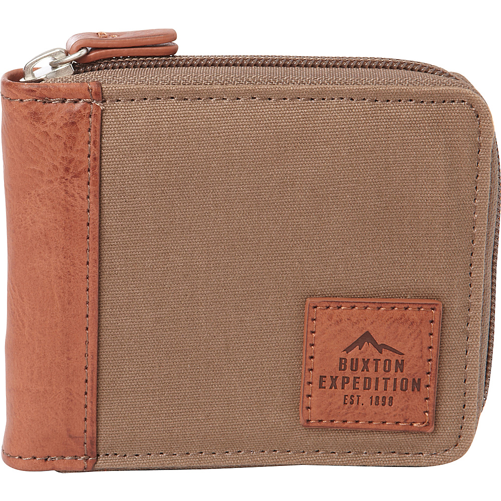 Buxton Expedition II Huntington Gear RFID Zip-Around Wallet Olive - Buxton Mens Wallets - Work Bags & Briefcases, Men's Wallets