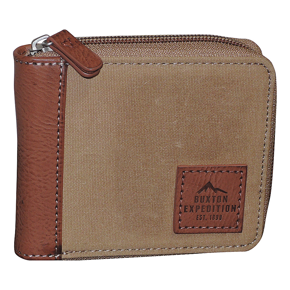 Buxton Expedition II Huntington Gear RFID Zip-Around Wallet Tan - Buxton Mens Wallets - Work Bags & Briefcases, Men's Wallets