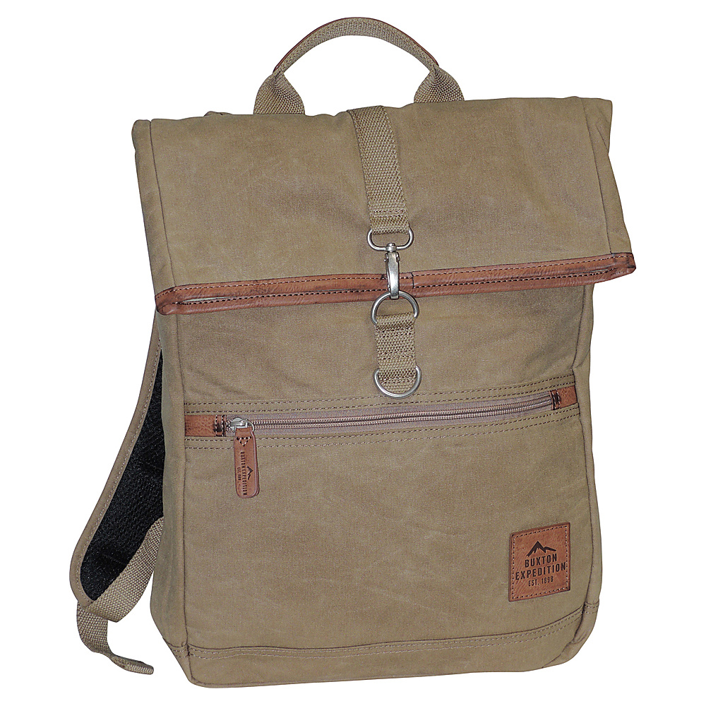 Buxton Expedition II Huntington Gear Fold-Over Backpack Tan - Buxton Business & Laptop Backpacks - Backpacks, Business & Laptop Backpacks