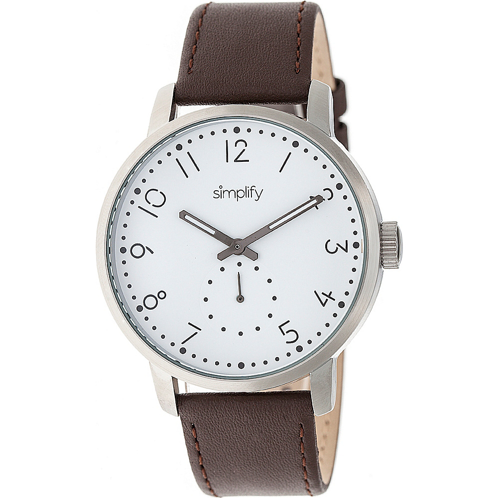 Simplify The 3400 Unisex Watch Dark Brown Silver White Simplify Watches