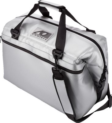 AO Coolers 24 Pack Carbon Fiber Soft Cooler Silver - AO Coolers Outdoor Coolers