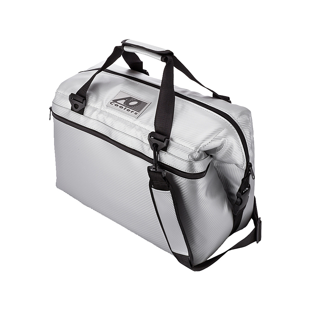AO Coolers 24 Pack Carbon Fiber Soft Cooler Silver AO Coolers Outdoor Coolers