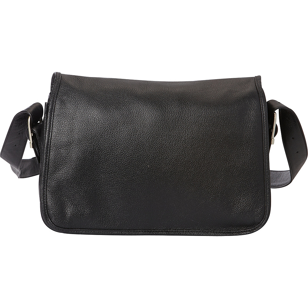 Piel Flap-Over Leather Handbag Black - Piel Leather Handbags - Handbags, Leather Handbags