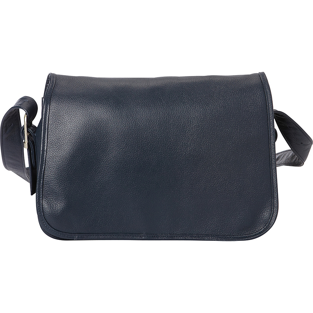 Piel Flap-Over Leather Handbag Navy - Piel Leather Handbags - Handbags, Leather Handbags