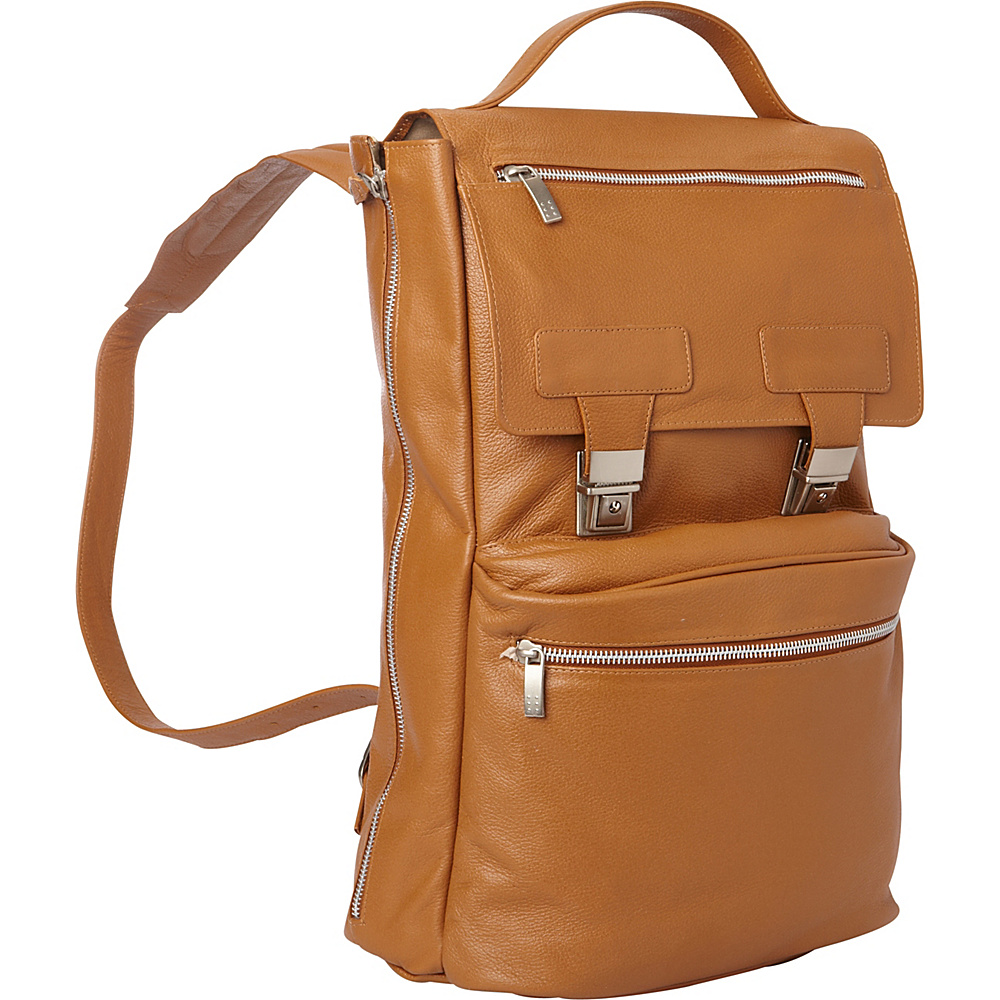 Piel Leather Vertical Backpack Saddle - Piel Business & Laptop Backpacks - Backpacks, Business & Laptop Backpacks