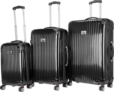 Chariot Paola 3 Pc Hardside Spinner Set Black - Chariot Luggage Sets