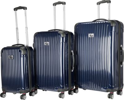 Chariot Paola 3 Pc Hardside Spinner Set Navy - Chariot Luggage Sets