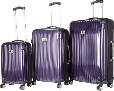 Chariot Paola 3 Pc Hardside Spinner Set Purple - Chariot Luggage Sets
