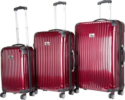 Chariot Paola 3 Pc Hardside Spinner Set Wine - Chariot Luggage Sets