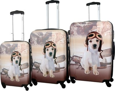 Chariot Chariot Oldies Beige 3 Pc Hardside Spinner Set Oldies Beige - Chariot Luggage Sets