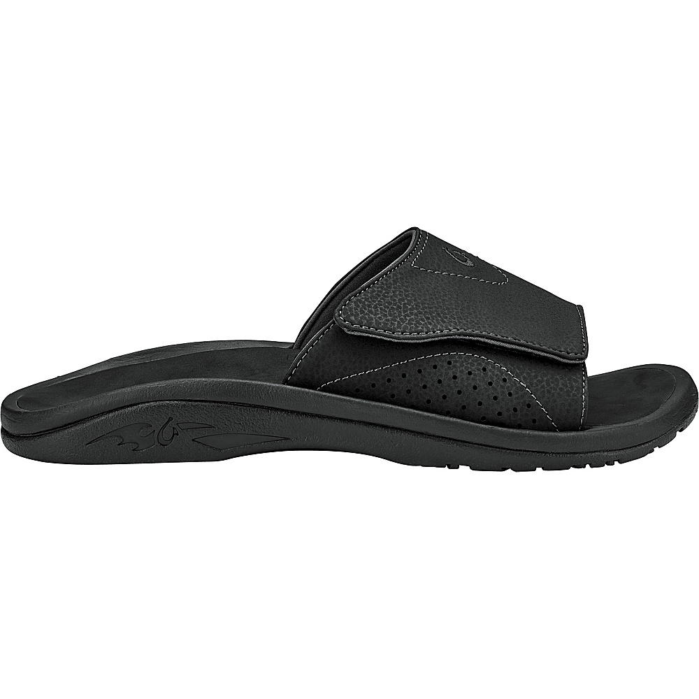 OluKai Mens Nalu Slide Sandal 8 - Black/Black - OluKai Mens Footwear - Apparel & Footwear, Men's Footwear
