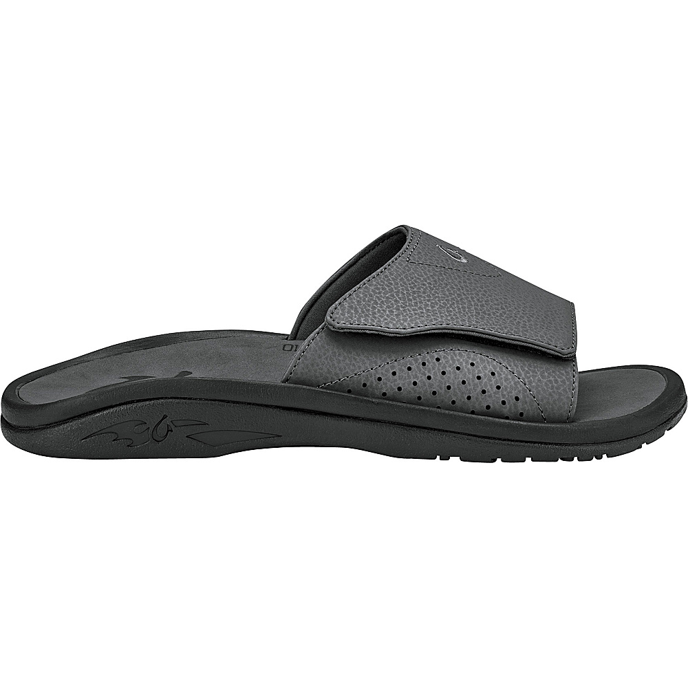 OluKai Mens Nalu Slide Sandal 16 - Dark Shadow/Dark Shadow - OluKai Mens Footwear - Apparel & Footwear, Men's Footwear