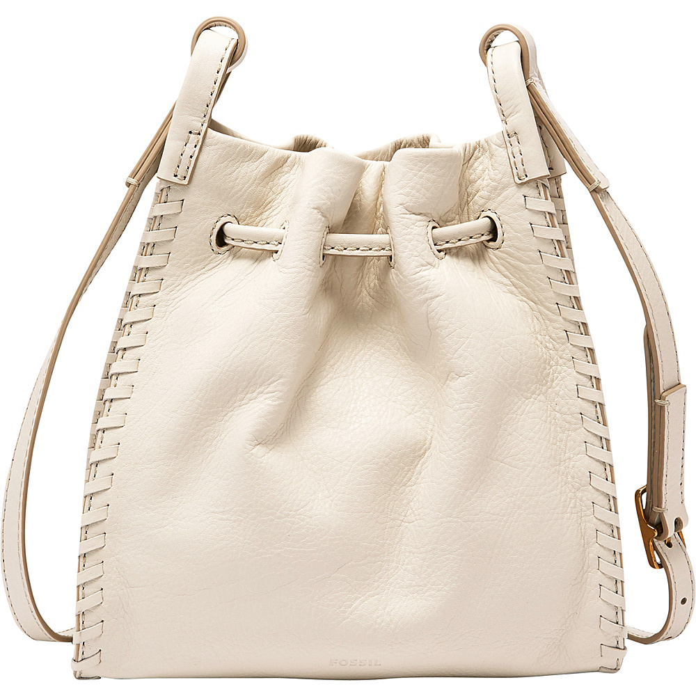 Fossil Claire Small Drawstring Crossbody with Embossed Leather Strap Vanilla - Fossil Leather Handbags - Handbags, Leather Handbags
