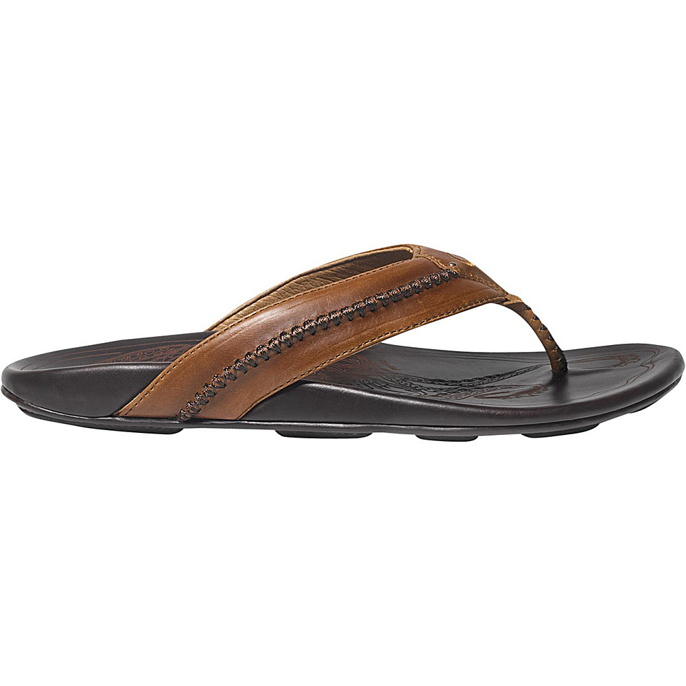 OluKai Mens Mea Ola Sandal 9 - Tan/Dark Java - OluKai Mens Footwear - Apparel & Footwear, Men's Footwear