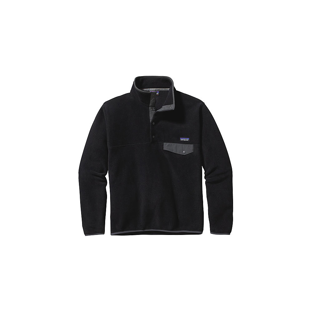 Patagonia Mens Lightweight Synchilla Snap-T Pullover M - Black with Forge Grey - Patagonia Mens Apparel - Apparel & Footwear, Men's Apparel