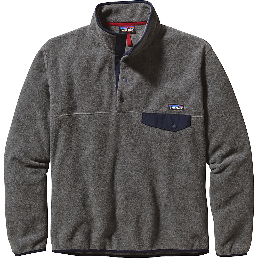 Patagonia Mens Lightweight Synchilla Snap-T Pullover XS - Nickel with Navy Blue - Patagonia Mens Apparel - Apparel & Footwear, Men's Apparel