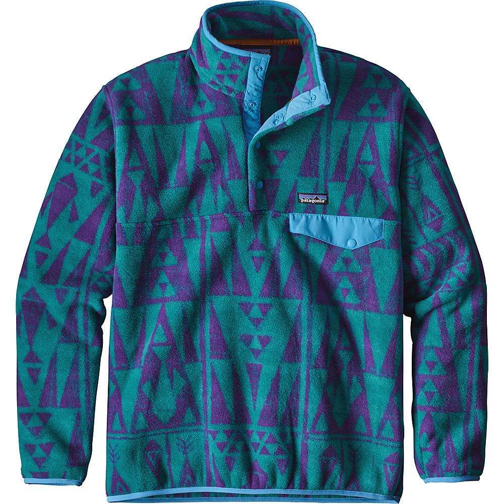 Patagonia Mens Lightweight Synchilla Snap-T Pullover XS - Tribal Geo Big: True Teal - Patagonia Mens Apparel - Apparel & Footwear, Men's Apparel