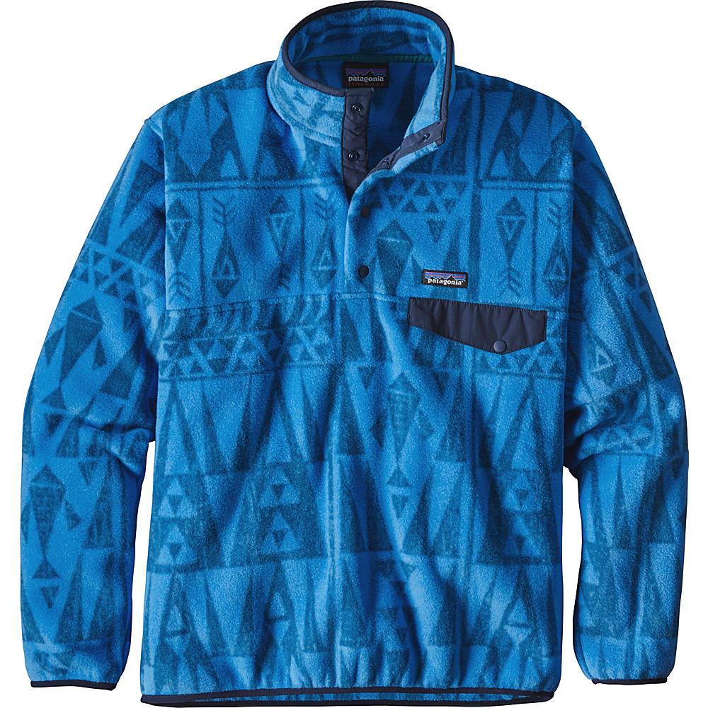 Patagonia Mens Lightweight Synchilla Snap-T Pullover L - Tribal Geo Big: Radar Blue - Patagonia Mens Apparel - Apparel & Footwear, Men's Apparel