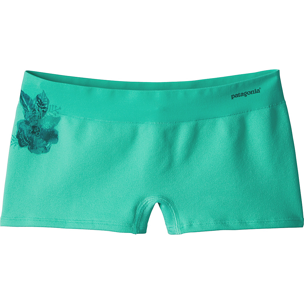 Patagonia Womens Active Mesh Boy Shorts XS - Dropdot Graphic: Galah Green - Patagonia Womens Apparel - Apparel & Footwear, Women's Apparel