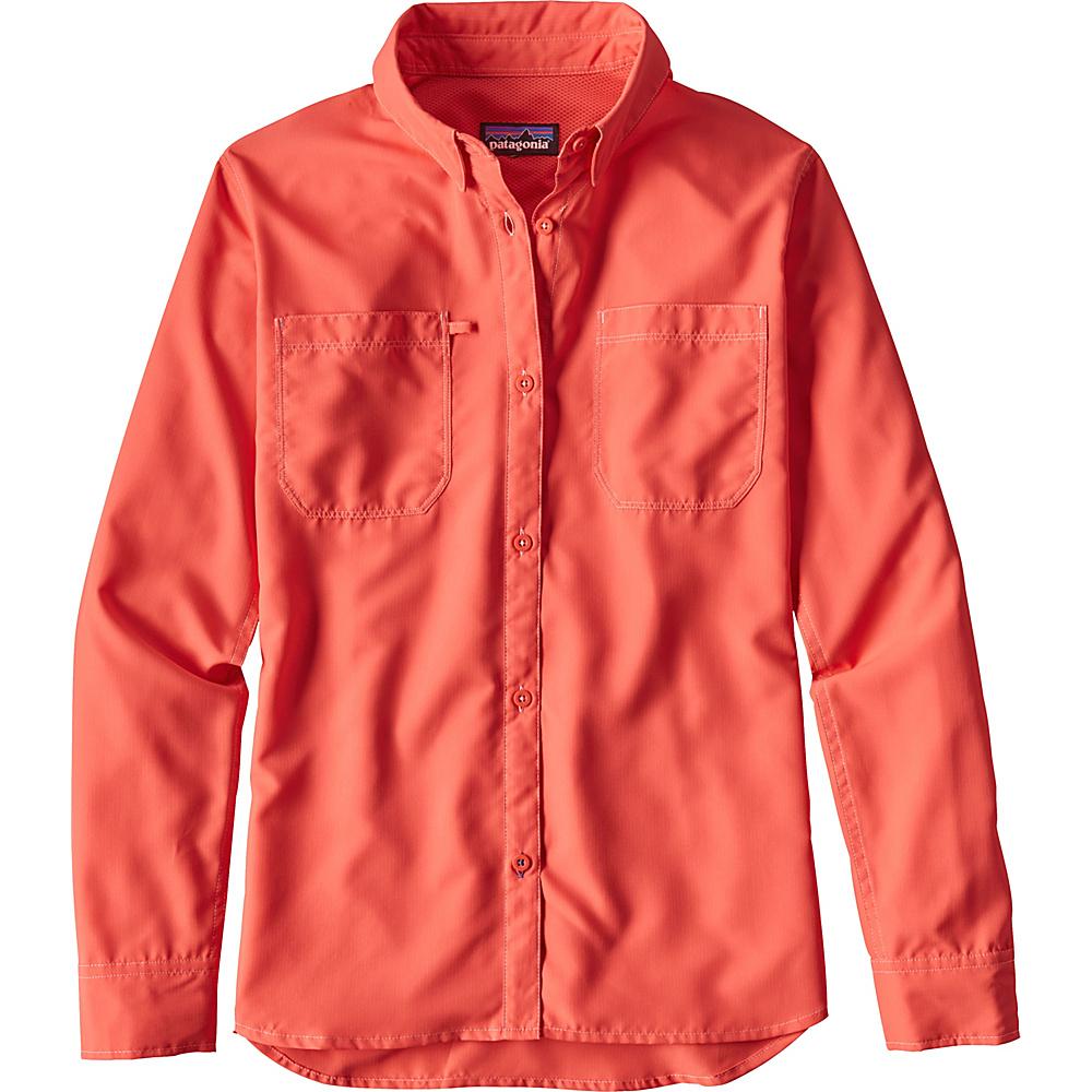 Patagonia Womens Long-Sleeved Sol Patrol Shirt XS - Carve Coral - Patagonia Womens Apparel - Apparel & Footwear, Women's Apparel