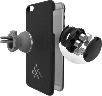 Candywirez Air Mount Combo - Car Mount & Genuine Leather Case for iPhone 6S Gunmetal/Black - Candywirez Trunk and Transport Organization