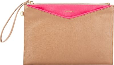 Hello Gorgeous Clutch & 4000mAh Mirror Power Bank Taupe/Pink - Hello Gorgeous Leather Handbags