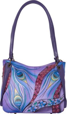 ANNA by Anuschka Hand Painted Shoulder Bag Dreamy Peacock Dewberry - ANNA by Anuschka Leather Handbags