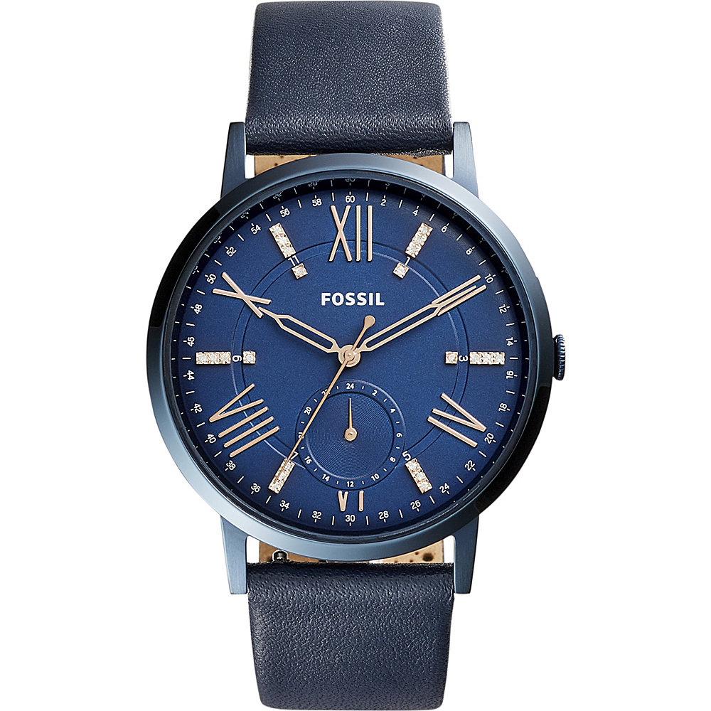 Fossil Gazer 3-Hand Date Leather Watch Blue - Fossil Watches - Fashion Accessories, Watches