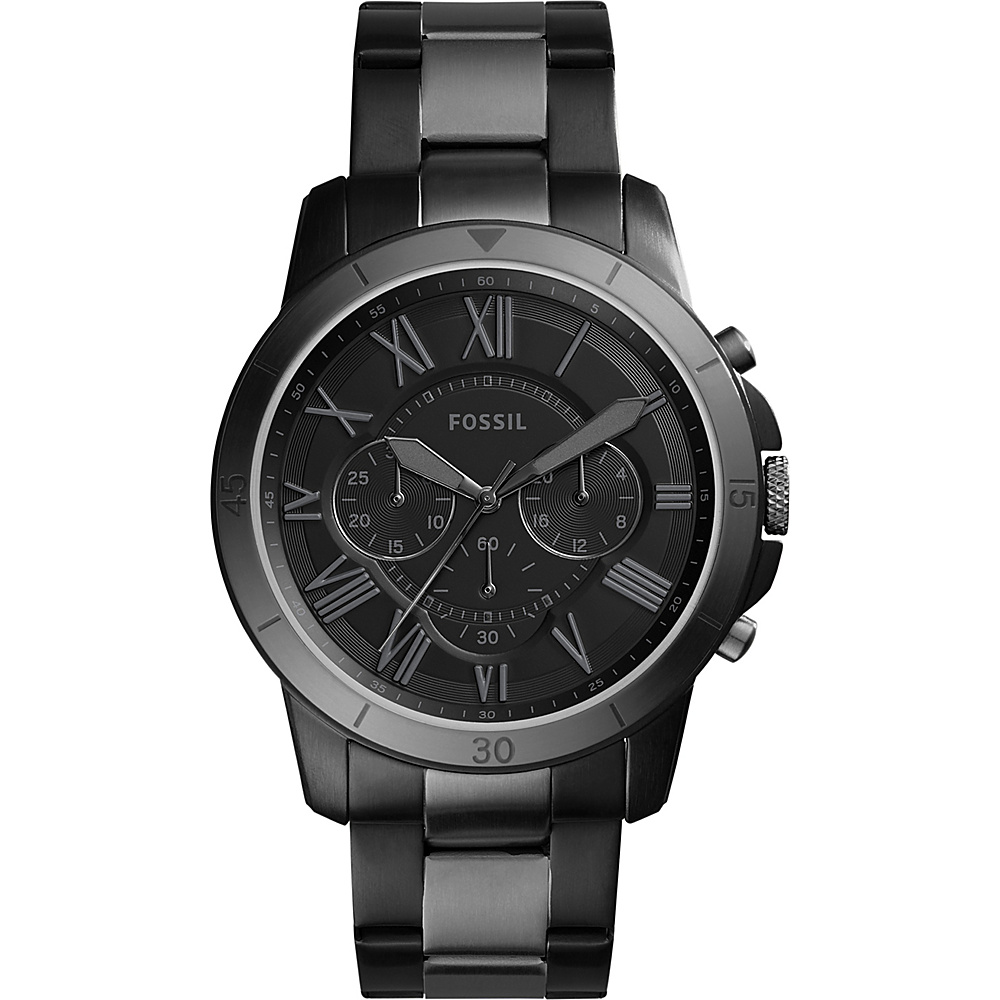 Fossil Grant Chronograph Stainless Steel Watch Black - Fossil Watches - Fashion Accessories, Watches