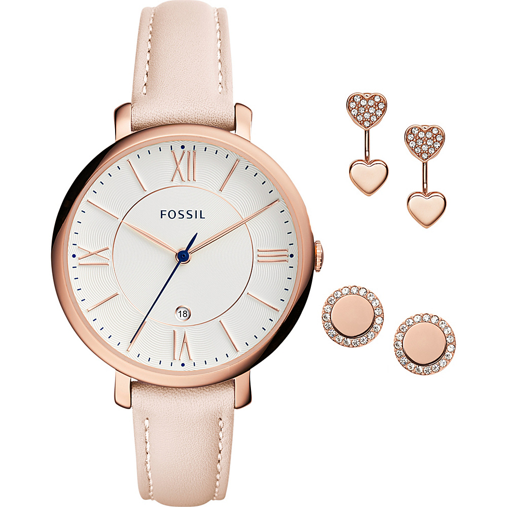 Fossil Jacqueline 3-Hand Leather Watch Set Pink - Fossil Watches - Fashion Accessories, Watches