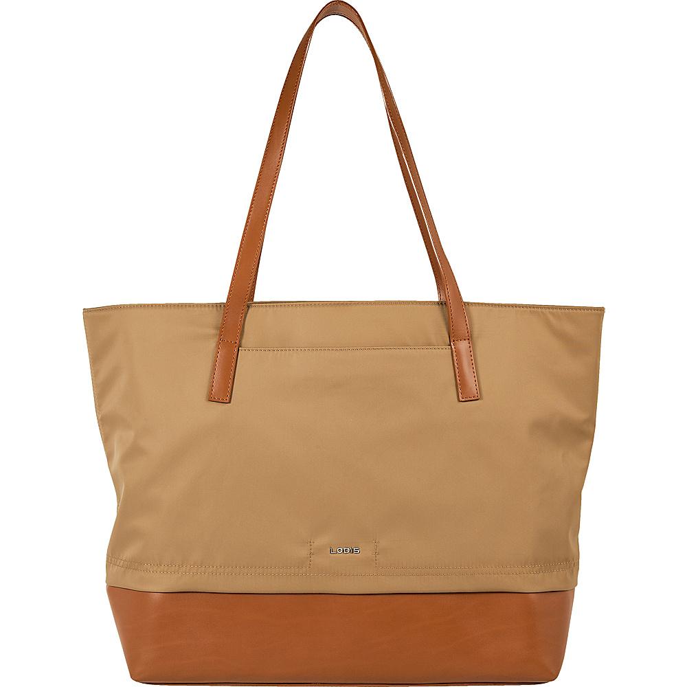 Lodis Kate Nylon Under Lock & Key Fabia Tote Light Brown - Lodis Fabric Handbags - Handbags, Fabric Handbags