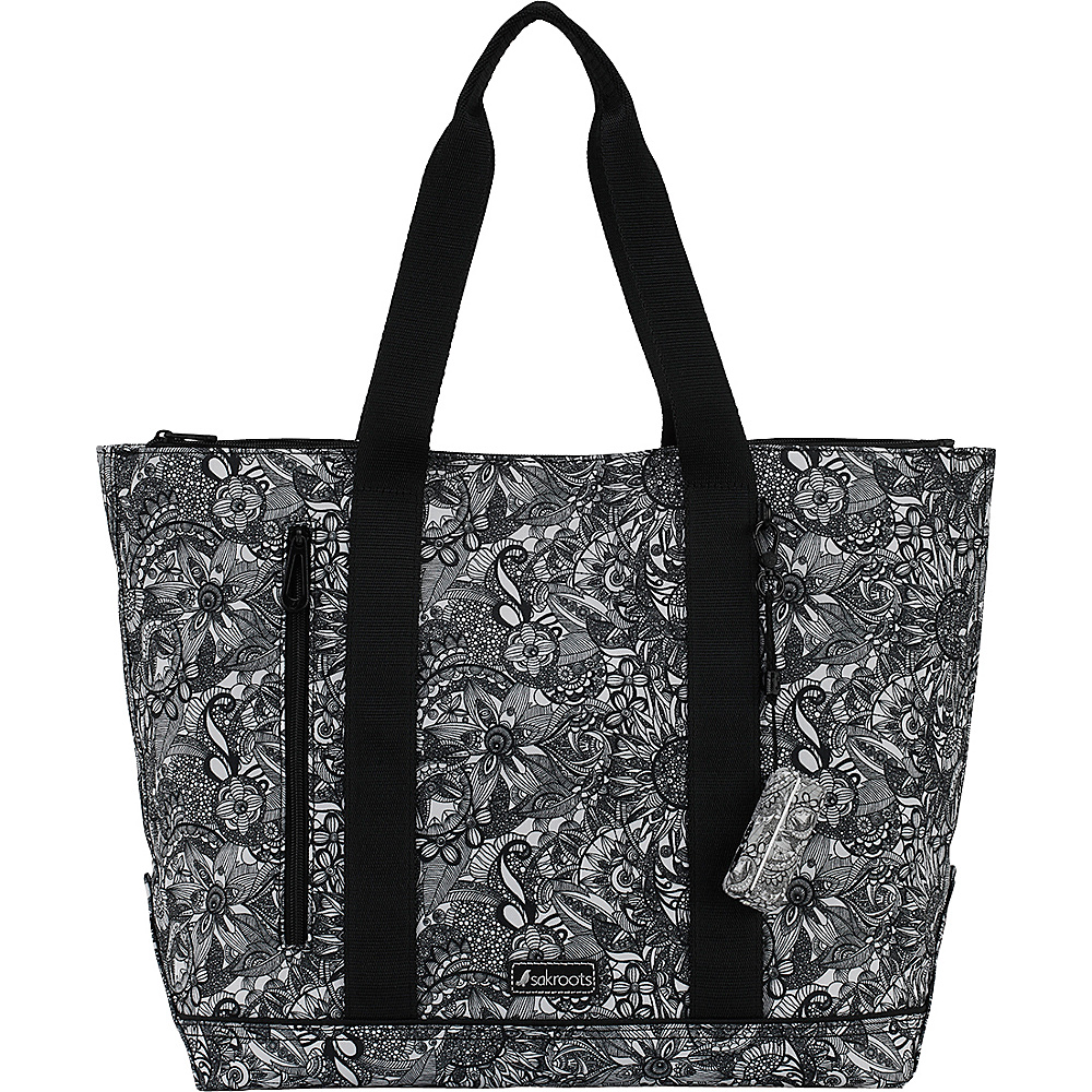 Sakroots New Adventure Finch Large Tote Black & White Spirit Desert - Sakroots Fabric Handbags - Handbags, Fabric Handbags